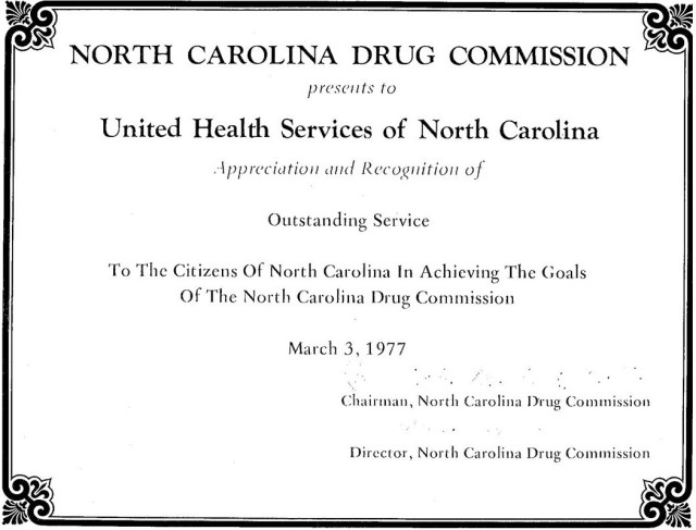United Health Services for Alcohol and Drug Abuse became Alcohol Drug Council of North Carolina